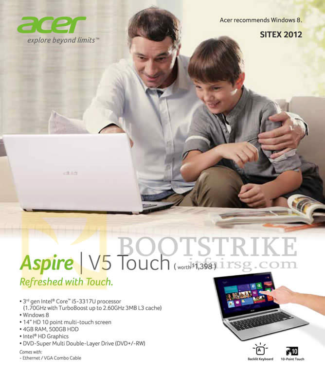 M1 Acer Aspire V5 Touch Notebook Specifications