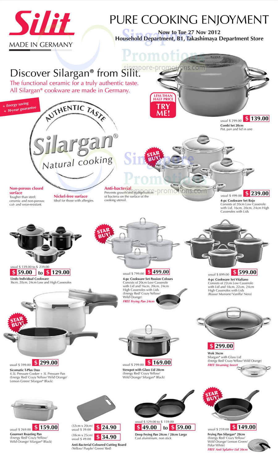takashimaya silit silargan kitchenware promotion offers 16. Black Bedroom Furniture Sets. Home Design Ideas