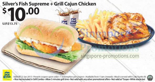 10.00 Silvers Fish Supreme, Grill Cajun Chicken