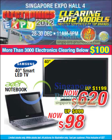 28 Dec Acer Notebook, Samsung 40 Smart LED TV