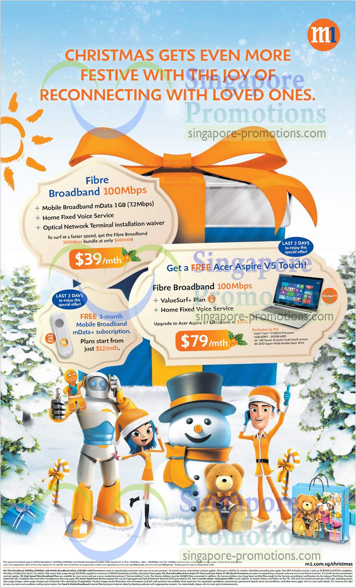 39.00 Fibre Broadband 100Mbps, Acer Aspire V5 Touch Notebook
