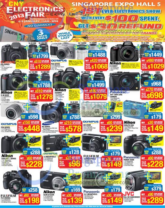 4 Jan Digital Cameras, Olympus, Fujifilm, Nikon, Canon, JVC, Samsung, Panasonic