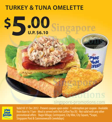 5.00 Turkey n Tuna Omelette Coupon