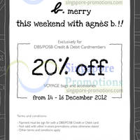 Read more about Agnes B 20% Off Voyage Bags Promo For DBS/POSB Cardmembers 14 - 16 Dec 2012