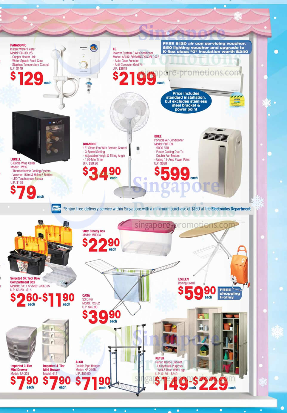 Electronics, Household Panasonic DH-3DL2S Water Heater, Lucell LW6S Wine Cellar, Bree BRE-09 Air Conditioner