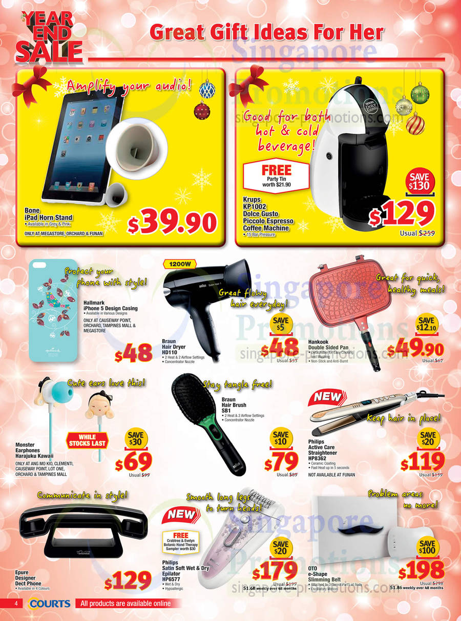 Krups KP1002 Dolce Gusto Coffee Machine, , Braun HD110 Hair Dryer, Braun SB1 Hair Brush, Philips ...