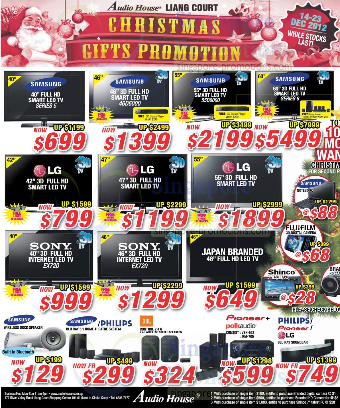 LED TVs, Home Theatre Systems, Samsung, LG, Sony, JBL, Philips, Pioneer