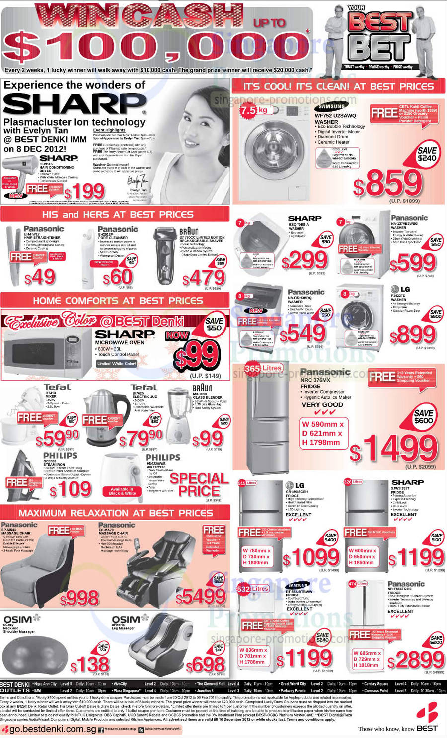 Sharp IF-P816 Hair Dryer,Samsung WF752 U2SAWQ Washer,Panasonic EH-HW17 Hair Straightener,Panasonic EH2513P Pore Cleanser,Braun S7 790CC Shaver,Sharp ESQ 70ES-A Washer,Panasonic NA-127VB3WSG Washer,Panasonic NA-F80H3HRQ Washer,LG F1422TD Washer,Tefal HT413 Mixer,Tefal BI7825 Electric Jug,Braun MX-205C Blender,Philips GC3593 Steam Iron,Philips HD9220WIB Air Fryer,Panasonic NRC 376MX Fridge,LG GR-M602GSH Fridge,Sharp SJWS 955T Fridge,Samsung RT 5582BTBWW Fridge,Panasonic NR-F555TX-N6 Fridge,OSIM uCozy Massager,OSIM uPhoria Leg Massager