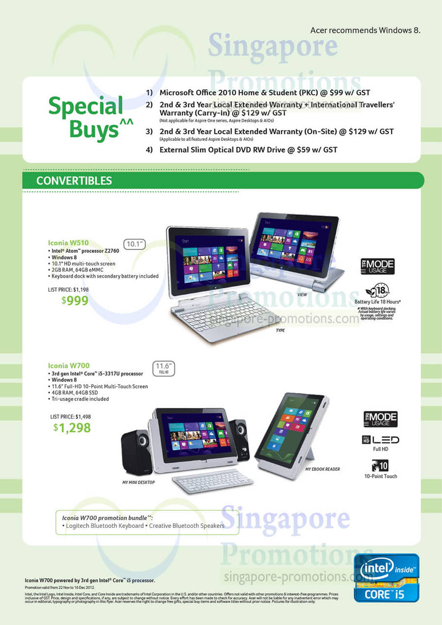 Acer Iconia W510 Notebook, Acer Iconia W700 Notebook