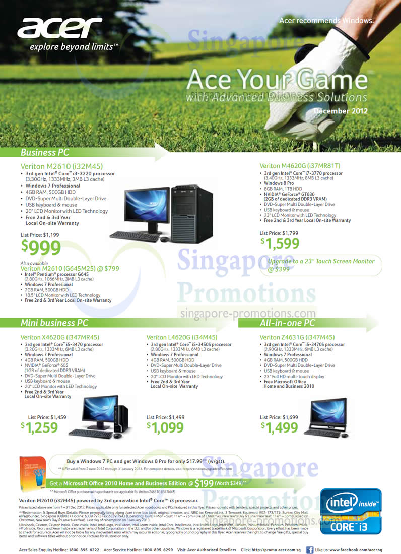 Acer Veriton M2610-i32M45 Desktop PC, Acer Veriton M2610-G65M25 Desktop PC, Acer Veriton M4620G-i37MR81T Desktop PC, Acer Veriton X4620G-i347MR45 Desktop PC, Acer Veriton L4620G-i34M45 Desktop PC, Acer Veriton Z4631G-i347M45 AIO Desktop PC
