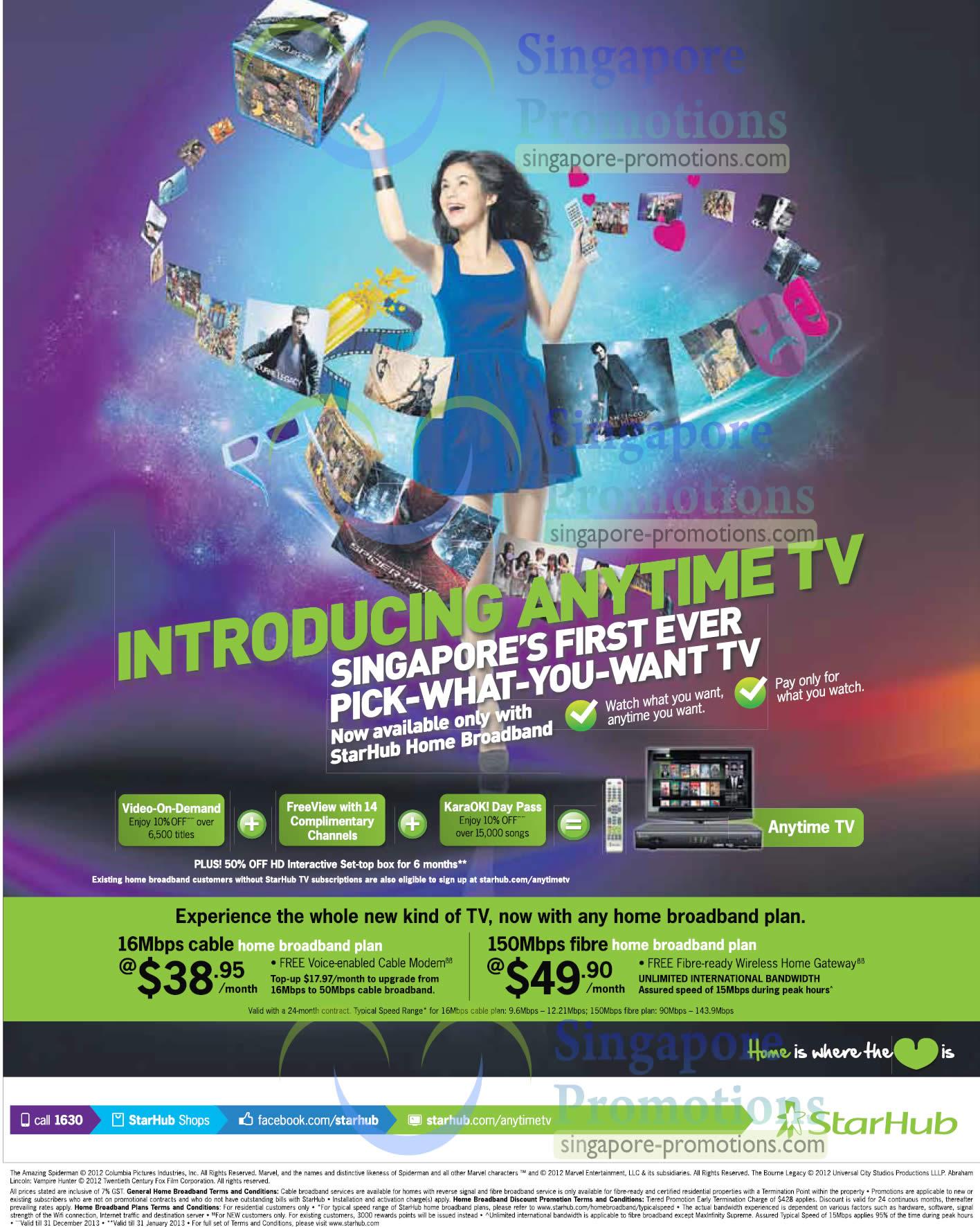 16Mbps Cable Broadband, 150Mbps Fibre Broadband