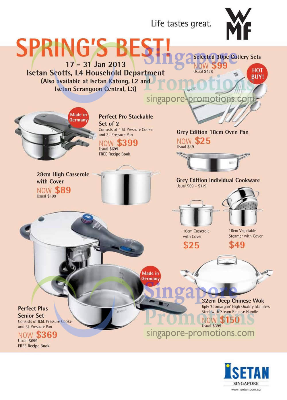 Isetan WMF Kitchenware amp Cookware Promotion Offers 17 31  : Grey Edition Oven Pan Individual Cookware Casserole Vegetable Steamer Perfect Plus Senior Set from singpromos.com size 1000 x 1390 jpeg 143kB