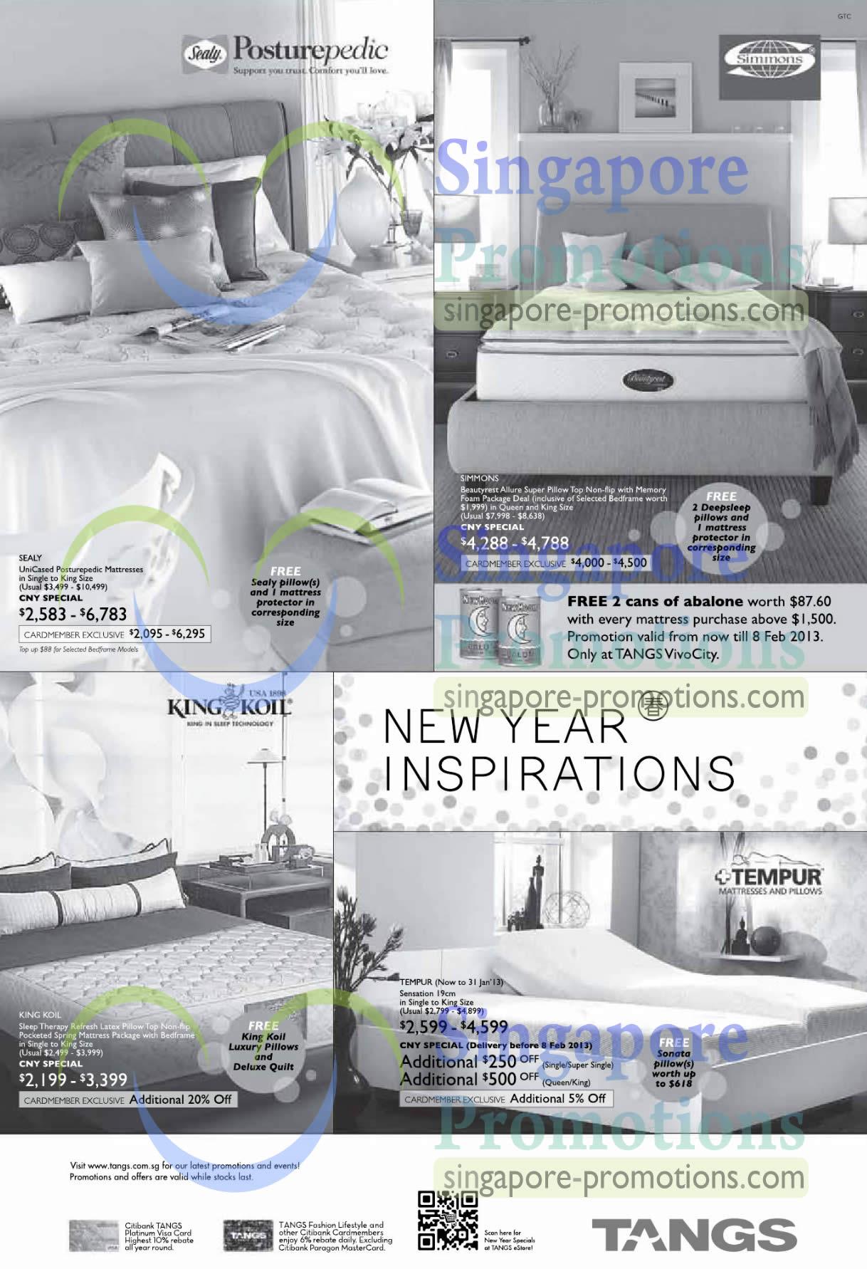 Simmons Beautyrest Allure Mattress, King Koil Sleep Therapy Mattress, Tempur Sensation Mattress