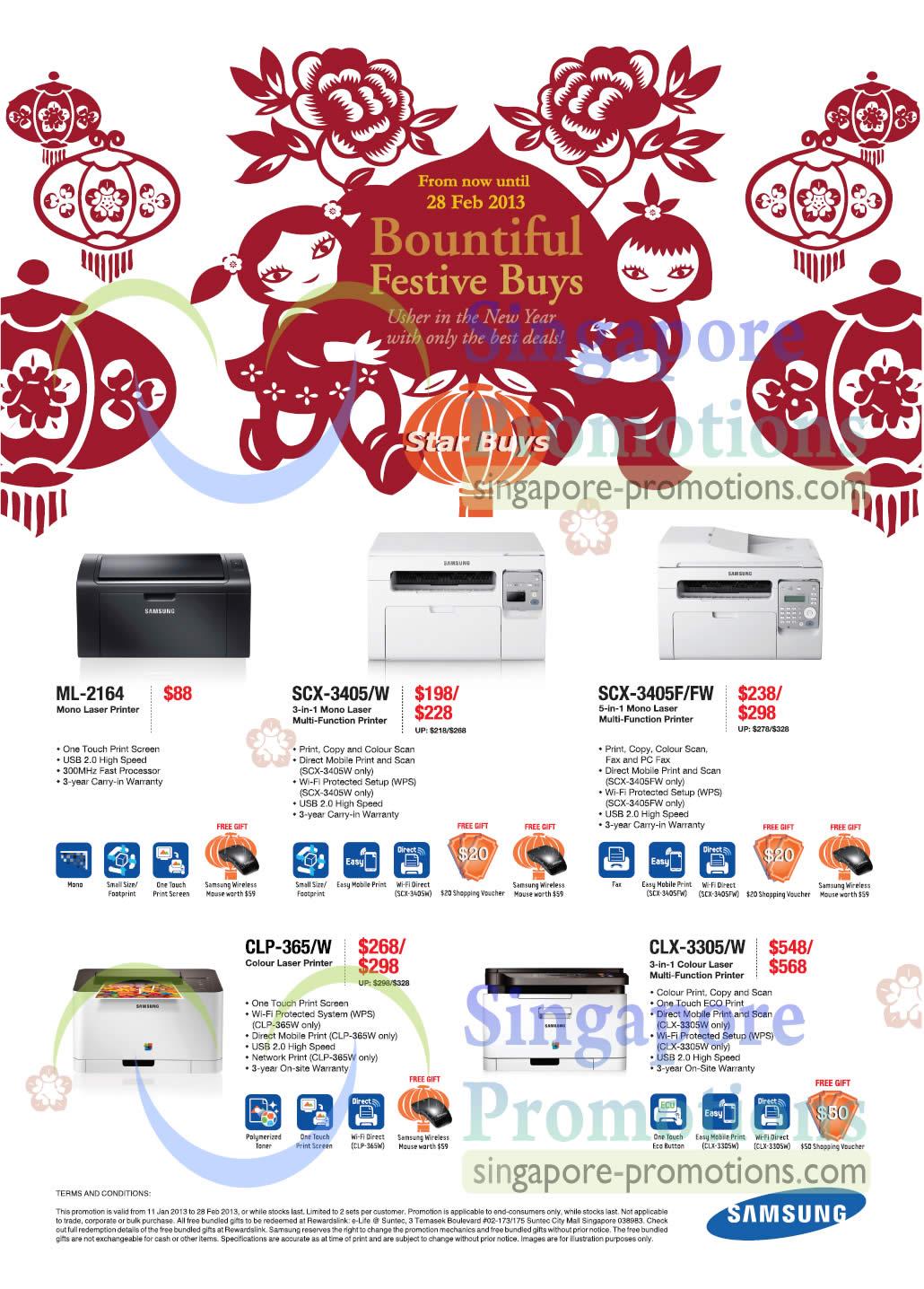 Samsung ML-2164 Laser Printer, Samsung SCX-3405/W Laser Printer, SamsungSCX-3405F/FW Laser Printer, Samsung CLP-365/W Laser Printer, Samsung CLX-3305/W Laser Printer