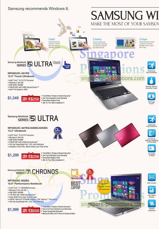 Samsung NP540U3C-A01SG Ultrabook Notebook, Samsung NP530U3C-A07SG Ultrabook Notebook, Samsung NP530U3C-A08SG Ultrabook Notebook, Samsung NP530U3C-A0GSG Ultrabook Notebook, Samsung NP700Z5C-S02SG Notebook