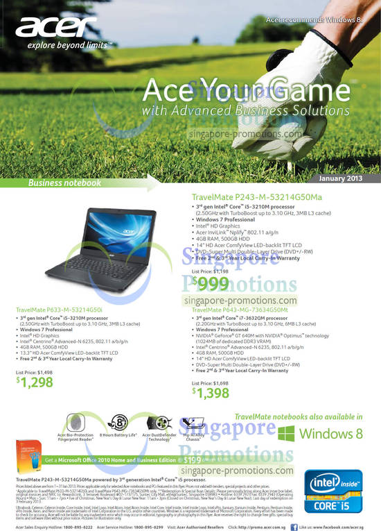 Acer TravelMate P243-M-53214G50Ma Notebook, Acer TravelMate P633-M-53214G50i Notebook, Acer TravelMate P643-MG-73634G50Mt Notebook