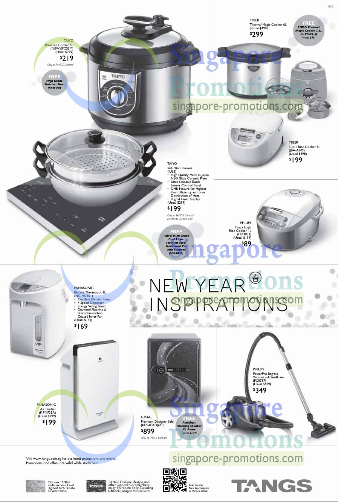 Taiyo PC53M Pressure Cooker, Taiyo IU32 Induction Cooker, Tiger JBA-AIOS Rice Cooker, Philips HD3031 Rice Cooker, Panasonic NC-HU301 Electric Thermopot, Panasonic F-PMF35A Air Purifier, Lusafe NPS-031D Safe, Philips FC8767 PowerPro Bagless Vacuum Cleaner