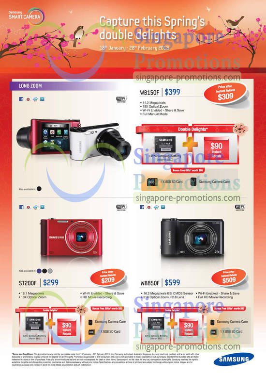 Samsung WB150F Digital Camera, Samsung ST200F Digital Camera, Samsung WB850F Digital Camera