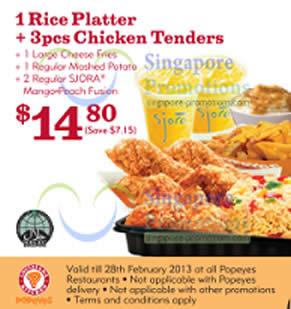 14.80 1 Rice Platter, 3pcs Chicken Tenders, 1 Cheese Fries, Sjora