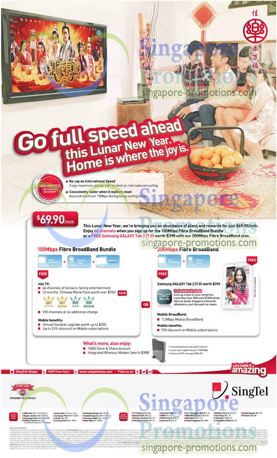 69.90 Fibre Broadband Plans, 100Mbps, 200Mbps, Samsung Galaxy Tab 2 7.0