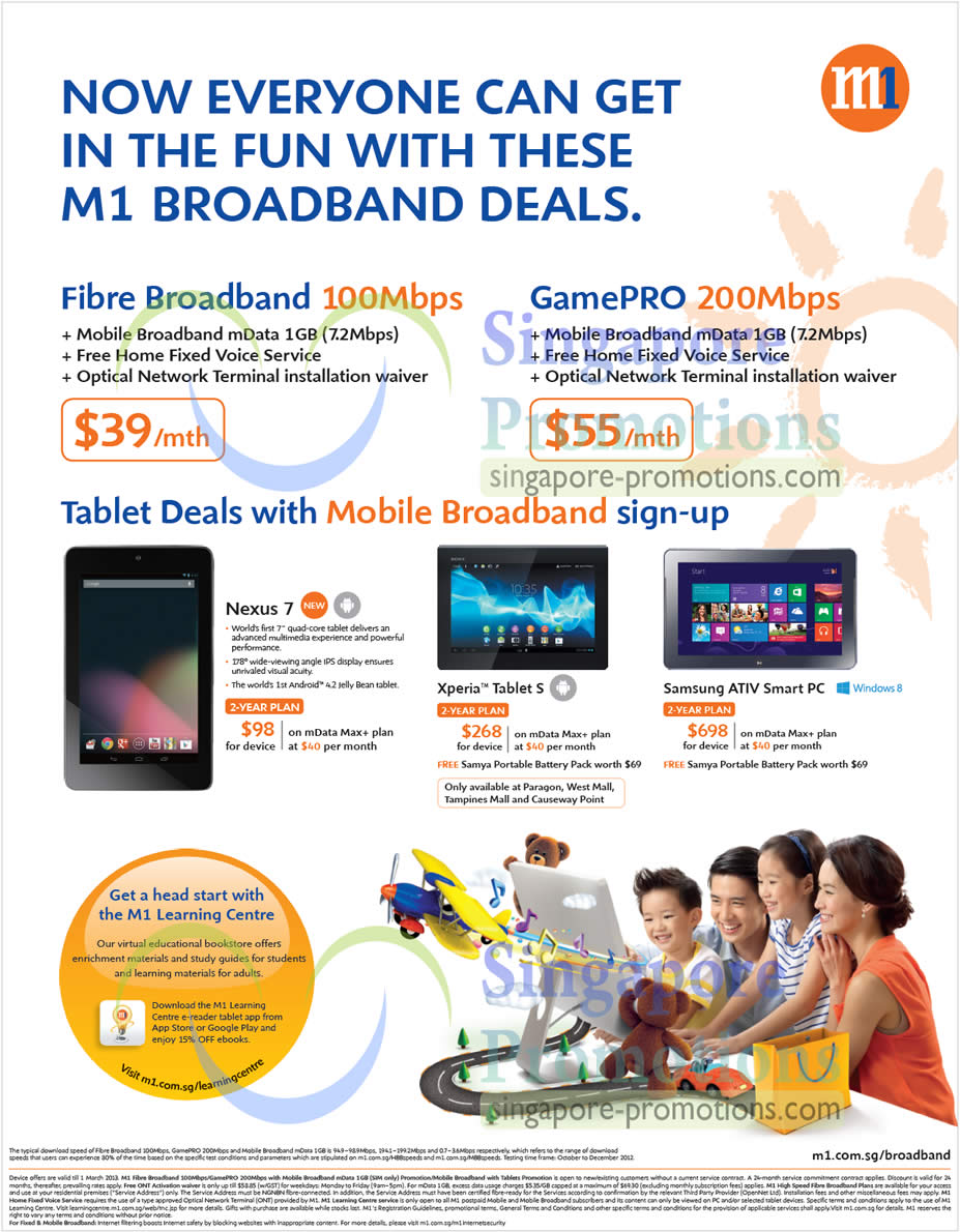 Fibre Broadband 100Mbps, GamePro 200Mbps, Nexus 7, Sony Xperia Tablet S, Samsung ATIV Smart PC