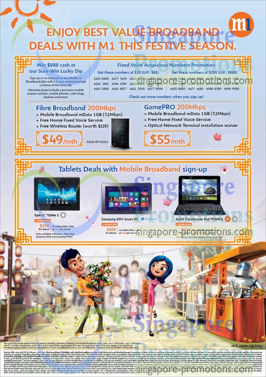 Fibre Broadband 200Mbps, GamePRO 200Mbps, Sony Xperia Tablet S, Samsung ATIV Smart PC, Asus Transformer Pad TF300TL
