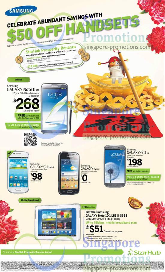 Samsung Galaxy Note II LTE, Samsung Galaxy S III LTE, Samsung Galaxy S III Mini, Samsung Galaxy Ace 2, Samsung Galaxy Note 10.1 LTE