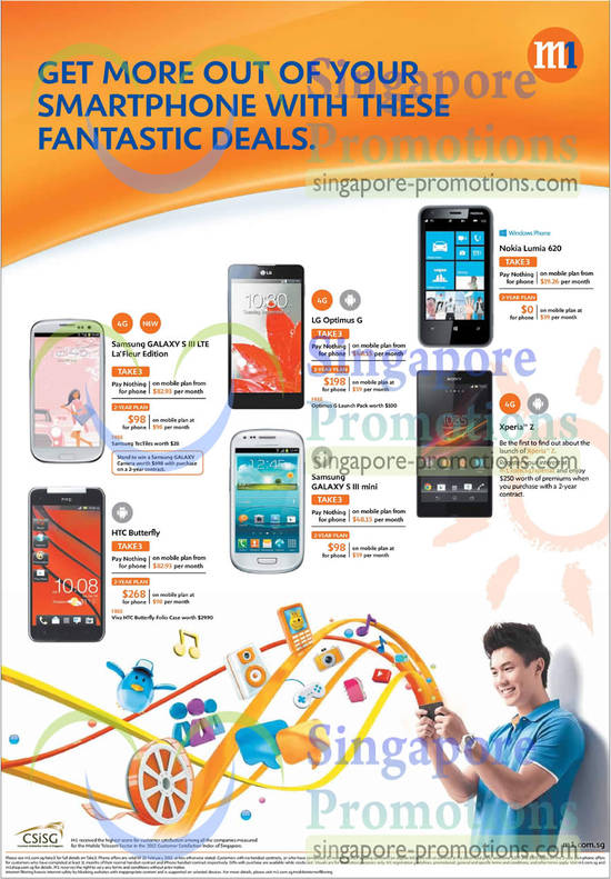 Samsung Galaxy S III LTE, Samsung Galaxy S III mini, LG Optimus G, Nokia Lumia 620, Sony Xperia Z, HTC Butterfly
