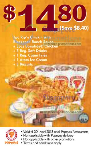 14.80 Rip n Chick n Meal, 3pcs Bonafide Chicken, 3 Drinks, 1 Reg Cajun Fries, 1 Atom Ice Cream, 3 Biscuits