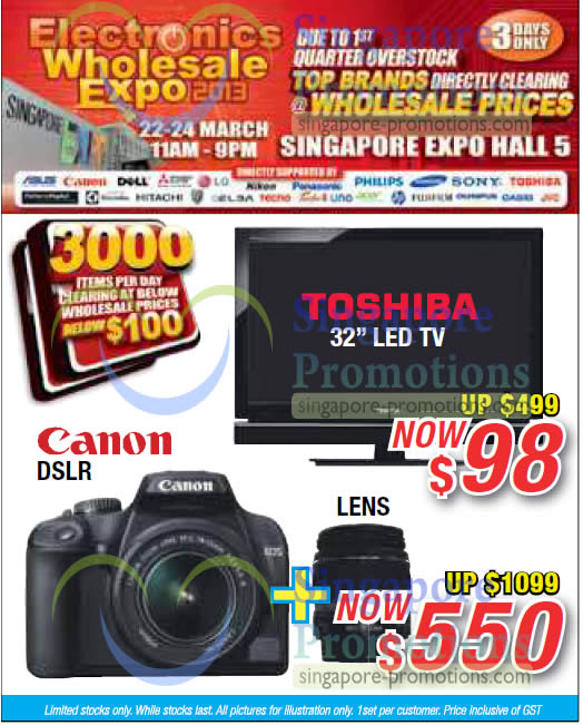 19 Mar Toshiba LED TV, Canon DSLR Digital Camera