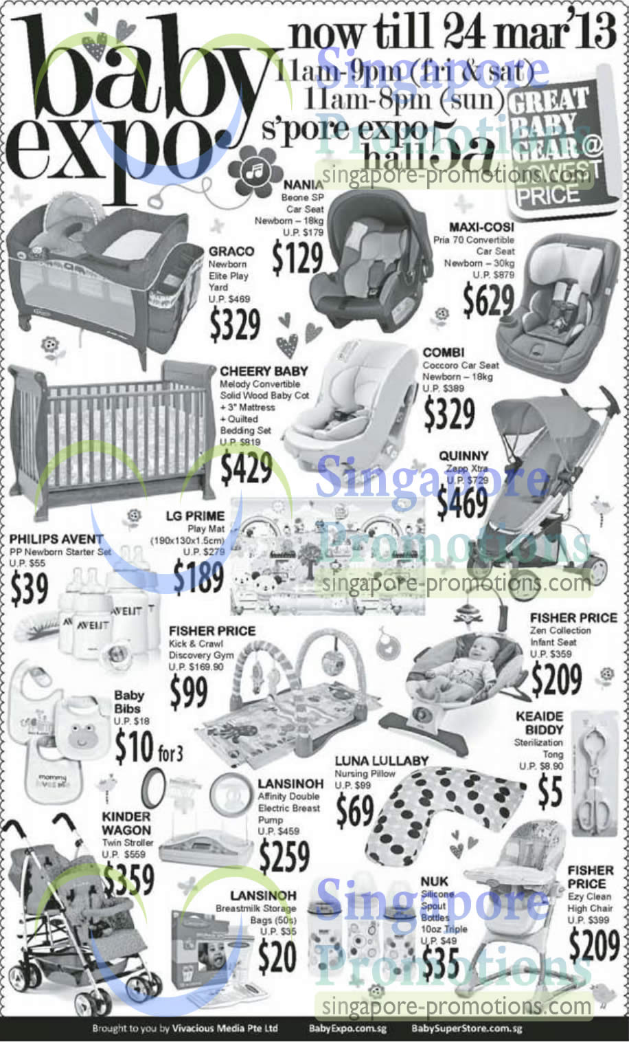 Nania Boone SP Car Seat, Maxi-Cosi Pria 70 Convertible Car Seat, Graco Newborn Elite Play Yard, Cheery Baby Melody Convertible Sdid Wood Baby Cot, COMBI Coccoro Car Seat, Quinny Zapp Xtra, FISHER PRICE Kick & Crawl Discovery Gym, Kinder Wagon Twin Stroller, Lansinoh Affinity Electric Breast Pump, FISHER PRICE Ezy Clean High Chair