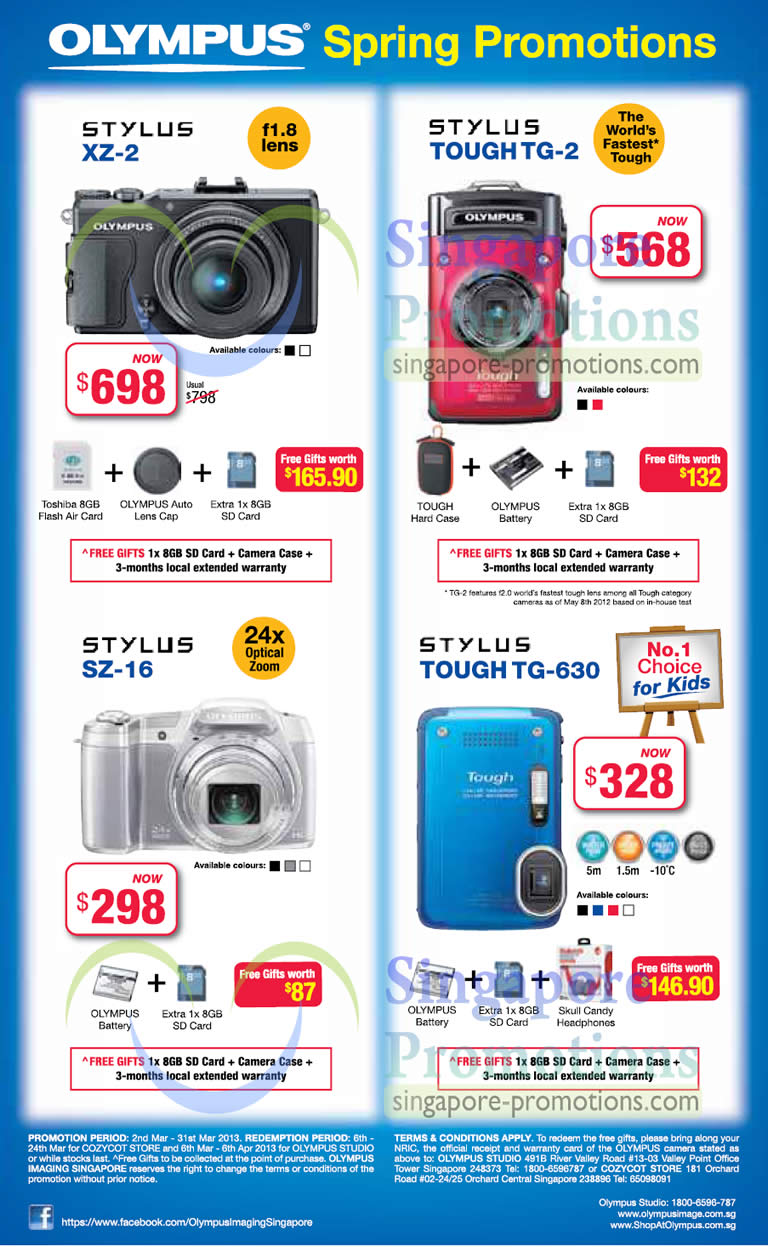 8 Mar Olympus Stylus XZ-2 Digital Camera, Stylus Tough TG-2, Stylus SZ-16, Stylus Tough TG-630