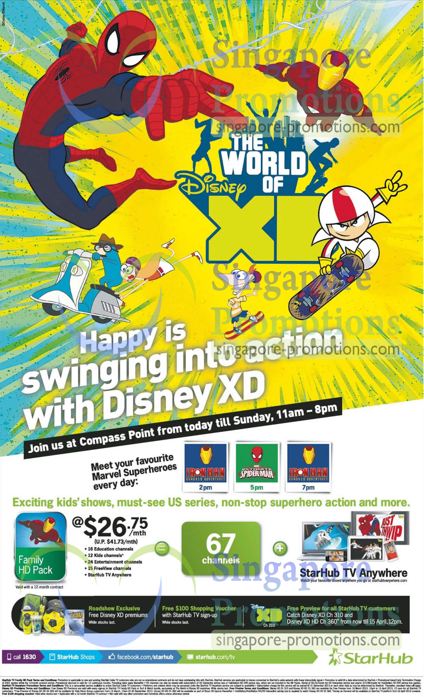 Cable TV Compass Point Roadshow, Family HD Pack 67 Channels, Disney XD