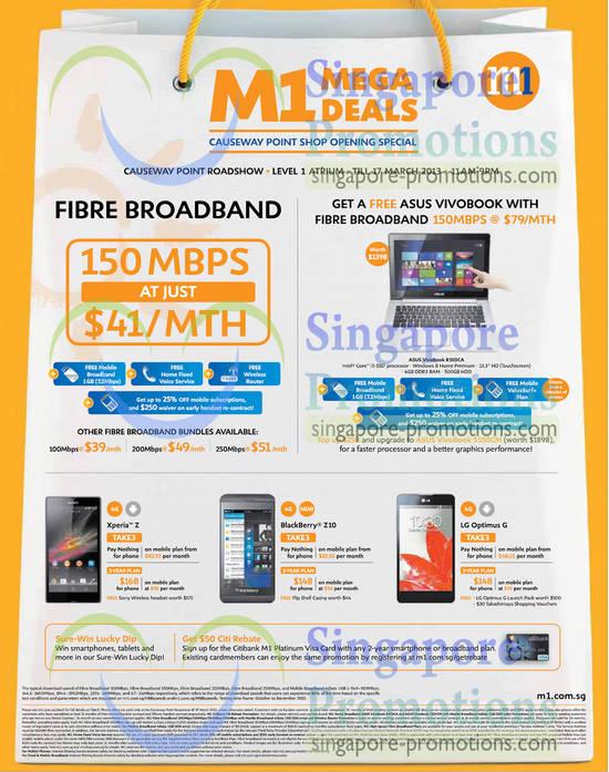 Fibre Broadband 150Mbps, Free Asus Vivobook, Sony Xperia Z, Blackberry Z10, LG Optimus G