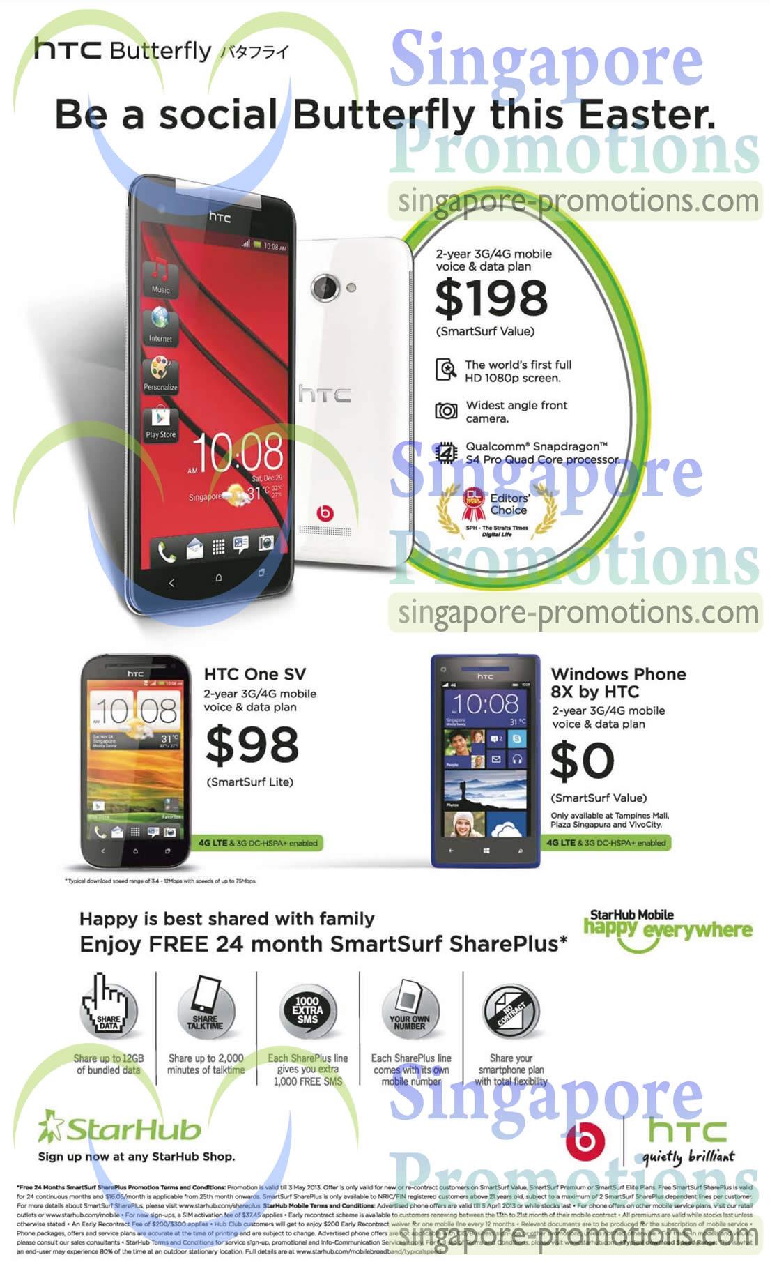 HTC Butterfly, HTC One SV, HTC Windows Phone 8X