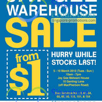 Read more about Jay Gee Warehouse Sale From $1 @ Jay Gee Melwani House 5 - 10 Mar 2013