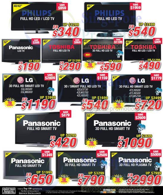 LED TVs, Philips, Panasonic, Toshiba, LG