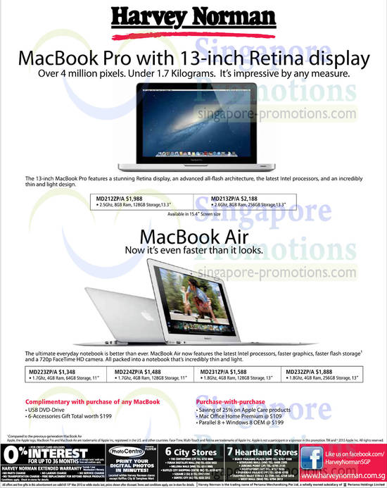 MacBook Pro with 13-inch Retina Diaplay, MacBook Air