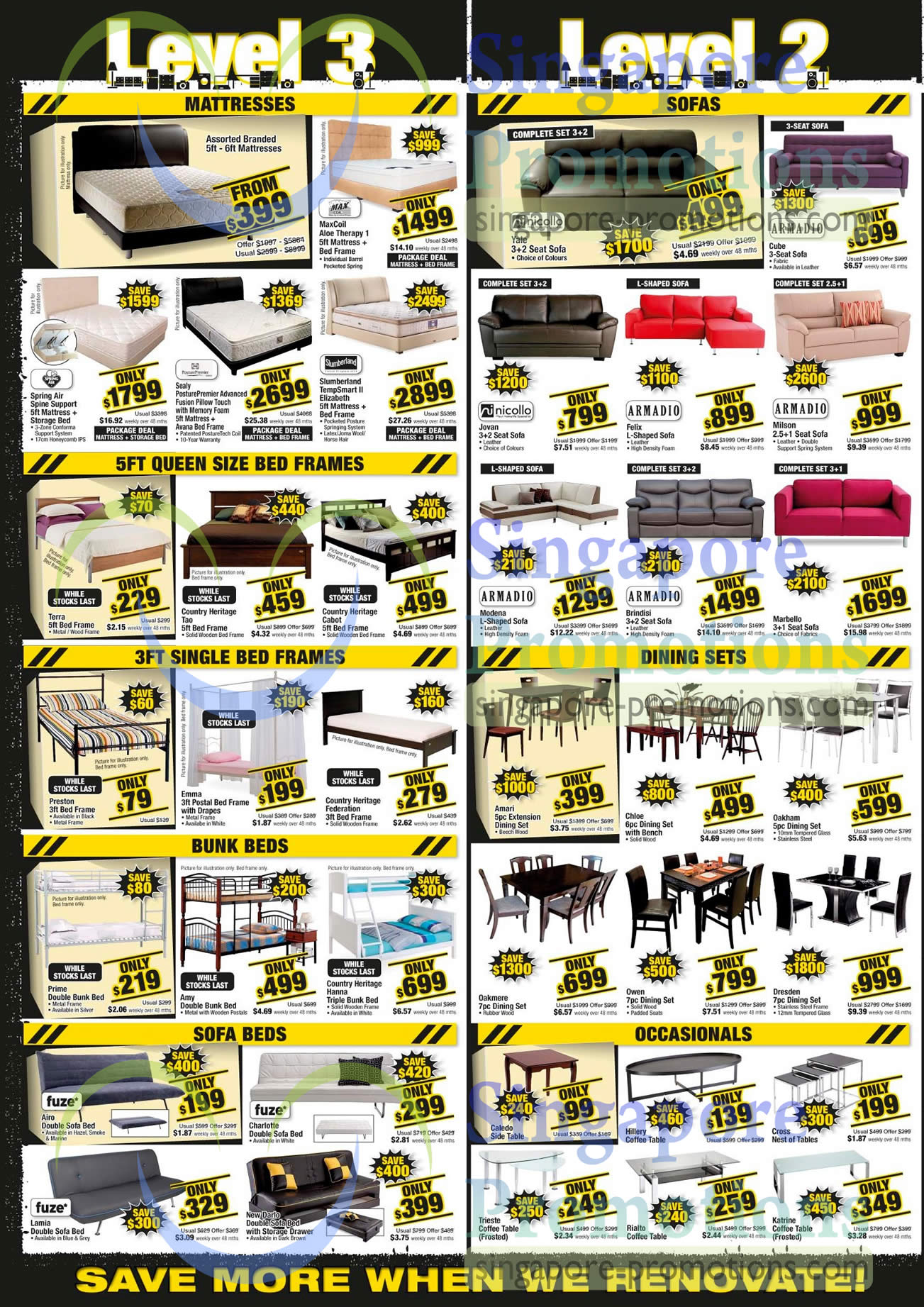 mattresses bed frames sofa beds sofa sets dinig sets coffee tables fuze nicollo armadio spring air maxcoil slumberland sealy posturepedic - Slumberland Bed Frames