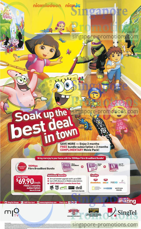 Mio TV Family Plus Pack, Unlimited 100Mbps Fibre Broadband Bundle, Home Line, Mio TV