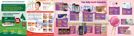 Nature's Farm Pycnogenol , Nutrixant Ultra Age-Defense Formula, Wakunaga Kyo-Dophilus, Nature's Farm Mirtogenol, Nature's Farm Men's Super Mega, Nature's Farm Women's Wonder Mega, Nature's Farm Manuka Honey, Nature's Farm IQ Memory, Haddrell's of Cambridge Manuka Honey, Senseiro Liquid Gold, Norwegian Fish Oil Omega-3, BioScience Allure Collagen Beauty Drink, Nature's Farm DetoQ-59, Nature's Farm SkinPURE , Ex-Care Priorin