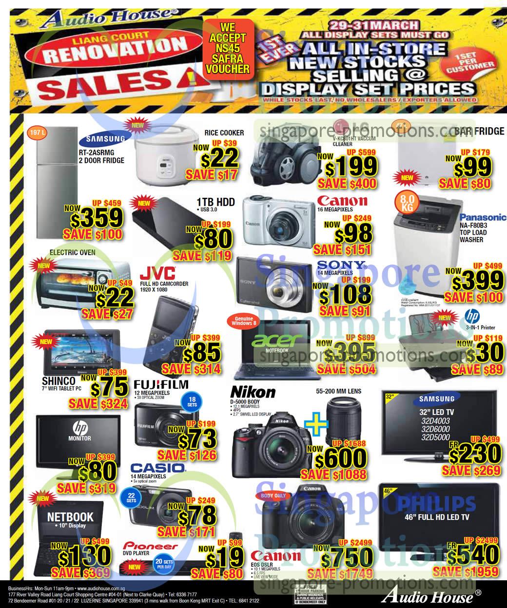 Samsung RT-2ASRMG Fridge, Nikon D5000 DSLR Digital Camera, LG V-KC801HT Vacuum Cleaner, Panasonic NA-F80B3 Washer