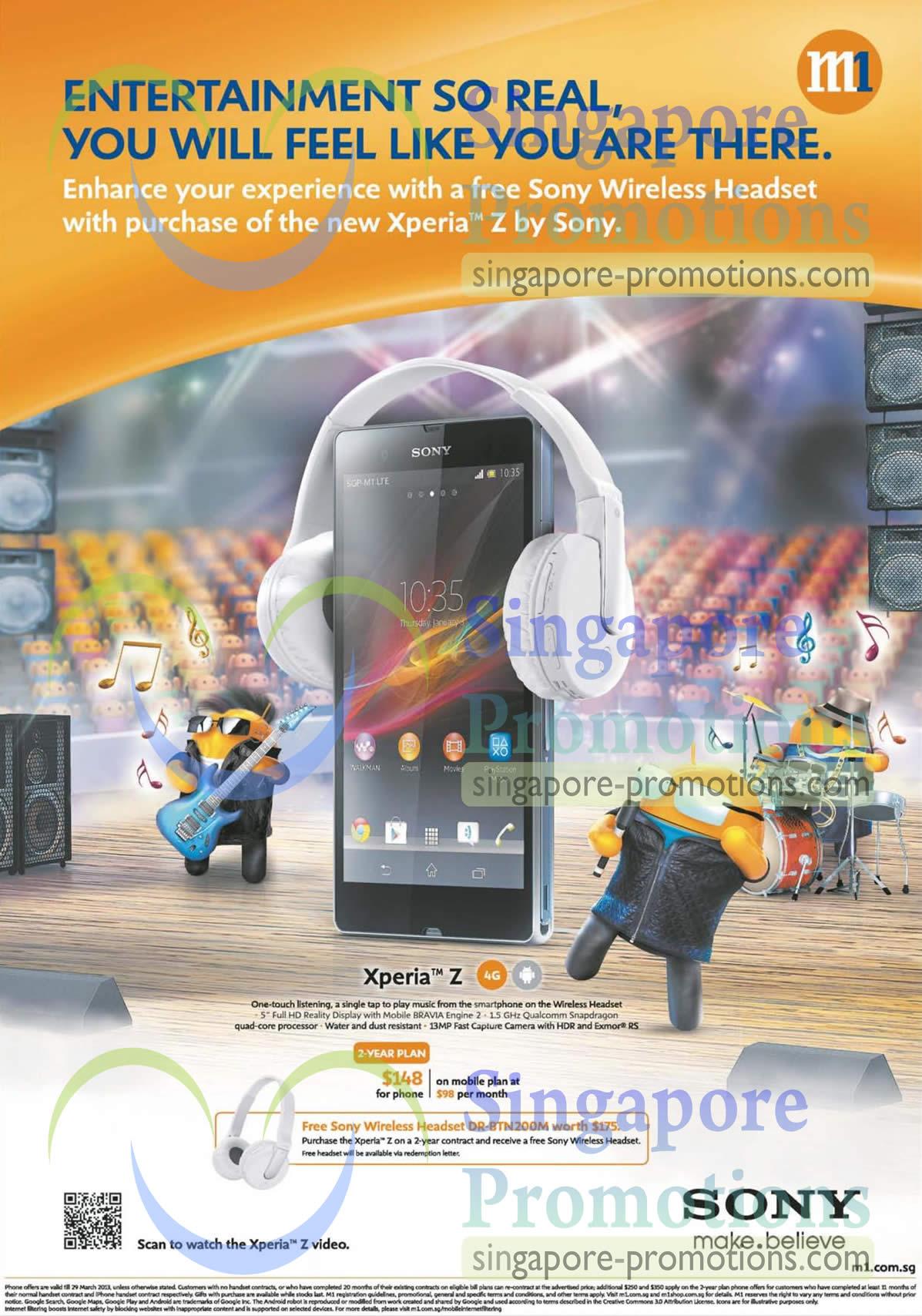 Sony Xperia Z, Free Sony Wireless Headset