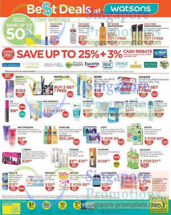 Up to 25 Percent Off Bio Essence, Loreal, Aqualabel, Garnier, Eucerin, Roc, Uriage, Ginvera Xndo Platinum, Klorane, Blackmores Omega