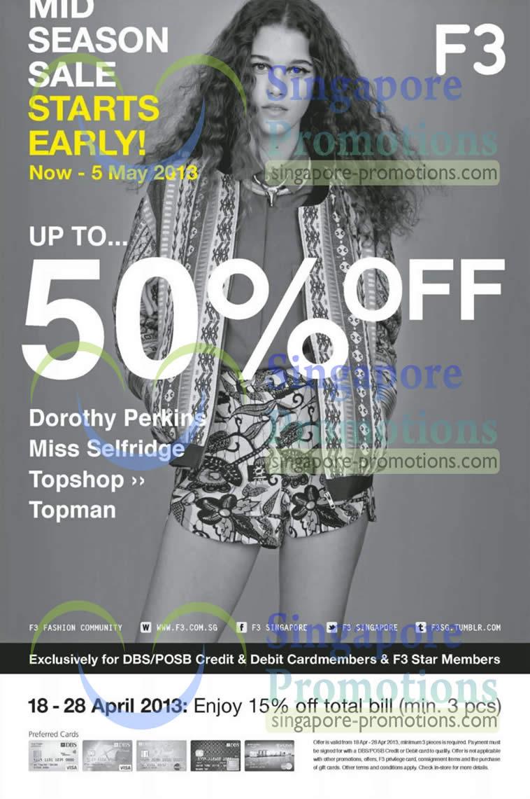 18 Apr Mid Season Sale Dorothy Perkins, Miss Selfridge, Topshop, Topman
