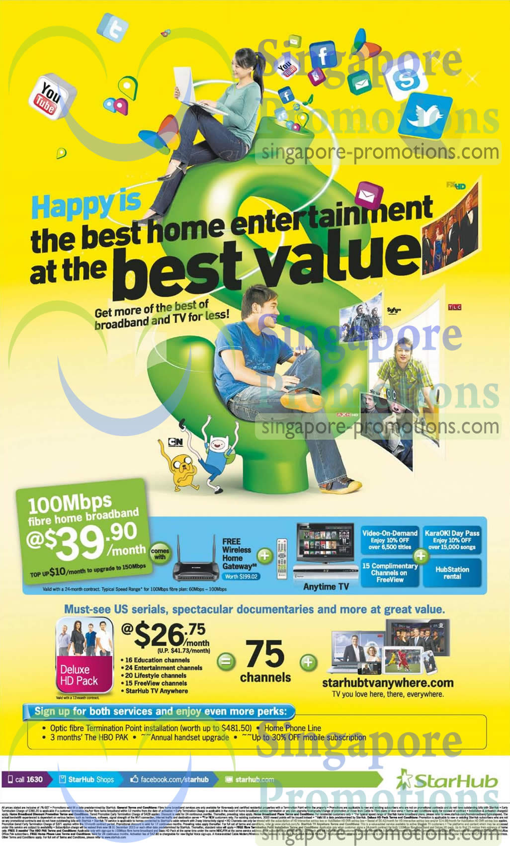 39.90 100Mbps Fibre Broadband, 150Mbps, Cable TV Deluxe HD Pack