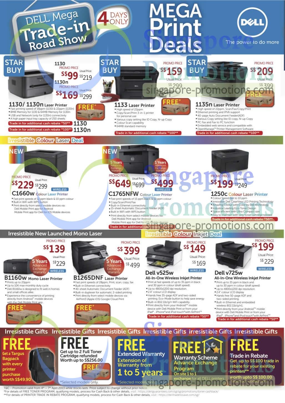 Dell 1130 Printer, Dell 1130n Printer, Dell 1133 Printer, Dell 1135n Printer, Dell 1660w Printer, Dell C1765NFW Printer, Dell 1250c Printer, Dell B1160w Printer, Dell B1265DNF Printer, Dell v525w AIO Printer