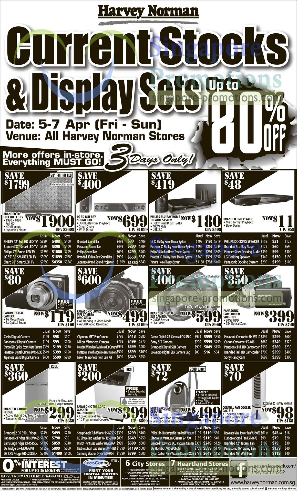 Panasonic Lumix DMC-TZ30 Digital Camera, Olympus MFT Pen Digital Camera, Canon EOS 550D DSLR Digital Camera, Panasonic HX-WA10 Digital Camcorder, Canon FS-406 Digital Camcorder, Panasonic NR-BW465 Fridge, Samsung RT-45TSGL Fridge, LG GR-M603GPH Fridge, LG GR-L208BLK SXS Fridge, Sharp ES-N75GS Washer, LG W-FT9561DD Washer, Brandt WFA0866A Washer, Electrolux EWF-14821 Washer, Samsung WD-0704 Washer, Electrolux Z-1760 Vacuum Cleaner, Dyson DC26 Vacuum Cleaner, Rowenta VU-9050 Tower Fan, EuropAce ESF-1679 Stand Fan