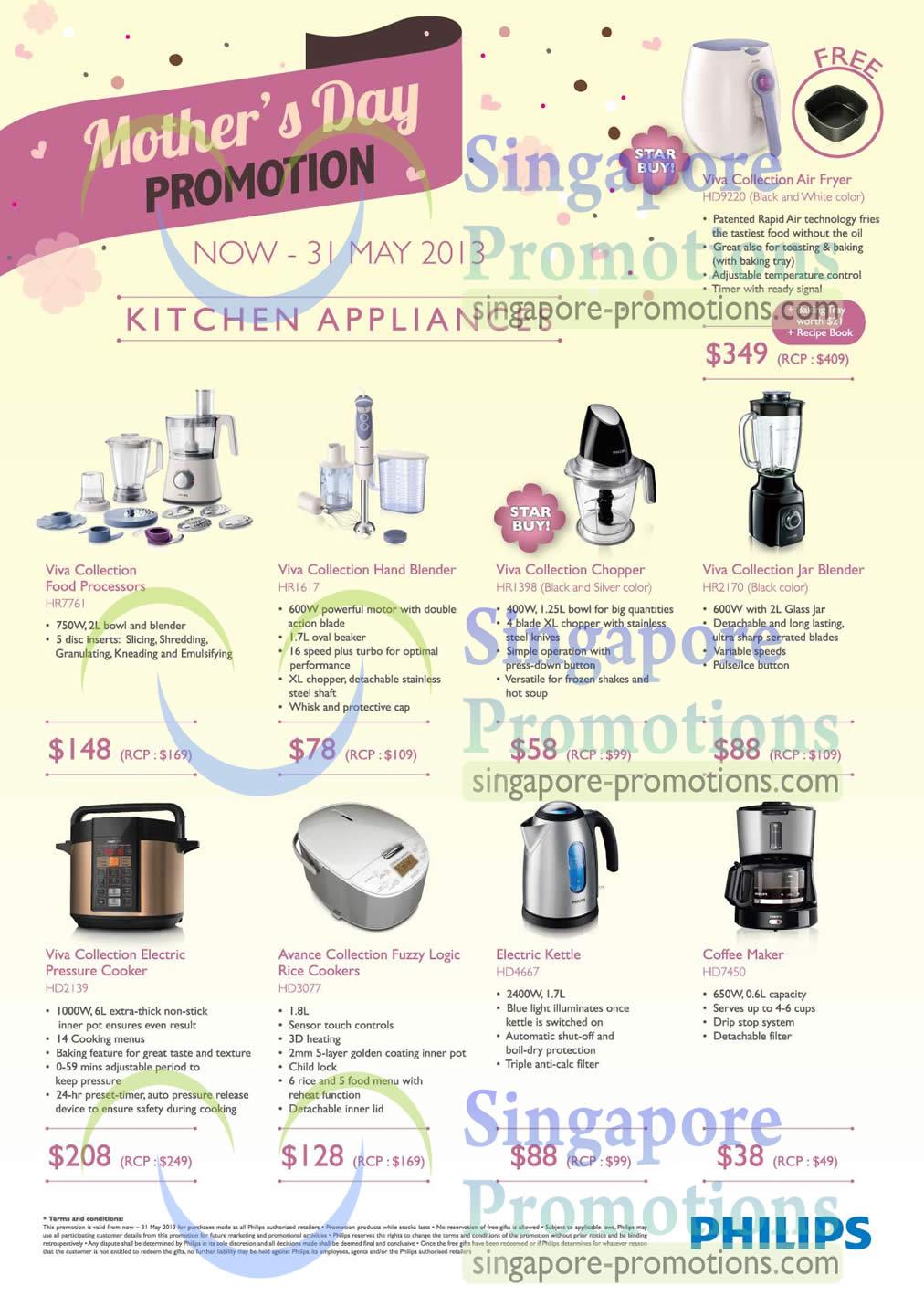 Philips Air Fryer HD9220, Philips Food Processor HR7761, Philips Hand Blender HR1617, Philips Chopper HR1398, Philips Jar Blender HR2170, Philips Pressure Cooker HD2139, Philips Rice Cooker HD3077, Philips Kettle HD4667 and Philips Coffee Maker HD7450