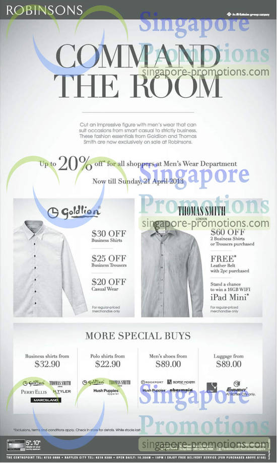 Mens Wear 20 Percent Off, Thomas Smith, Gold Lion Shirts, Trousers